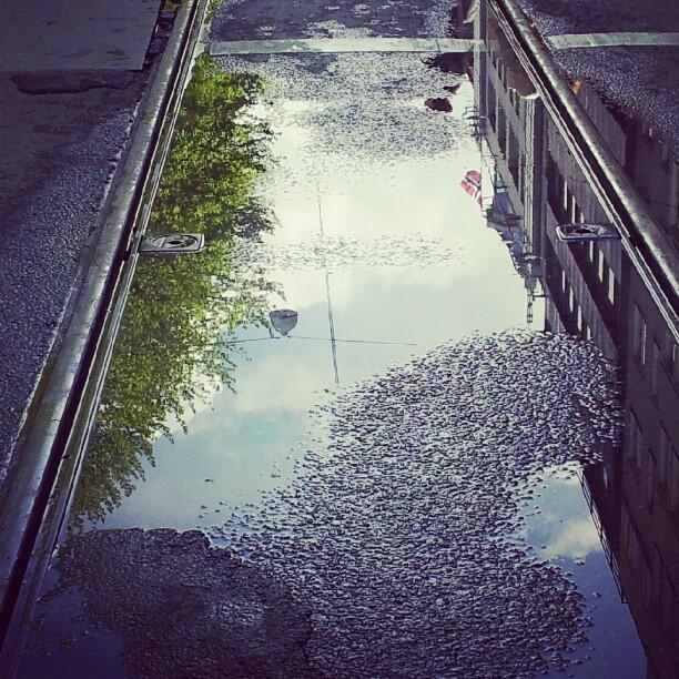 Instagram: #17mai #nasjonaldag #constitution #flagg #flag #speil #mirror #reflection #reflections #vann #water #tracks